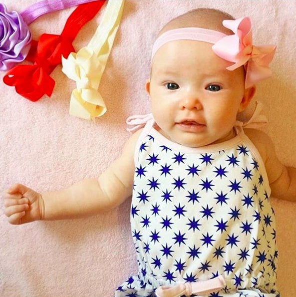 Pink baby headband by Pretty Little Clippies Australia