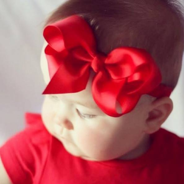 Pip red medium bow baby headband (by Pretty Little Clippies Australia)
