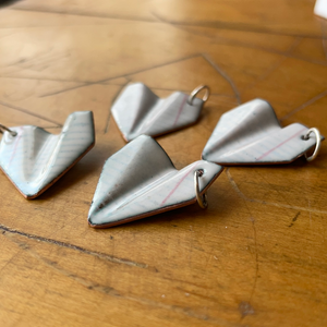 Small Enameled Paper Airplane