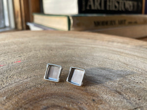 Sterling Silver Box Lid Earrings