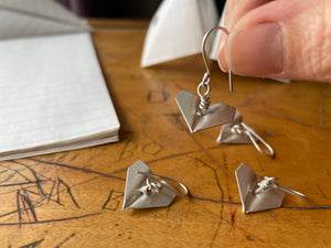 Sterling silver Paper Airplane Earrings