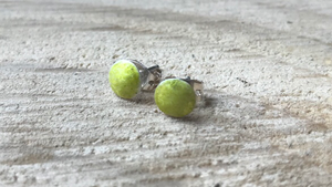 "Pear color enameled ""candy dot"" post earrings"