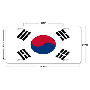 "LP241 - South Korea Flag Custom Novelty Aluminum Automotive 6"" X 12 License Plate"