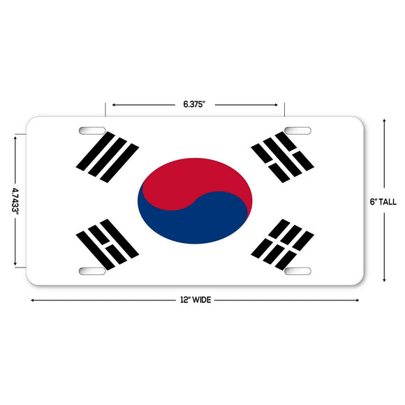 LP241 - South Korea Flag Custom Novelty Aluminum Automotive 6