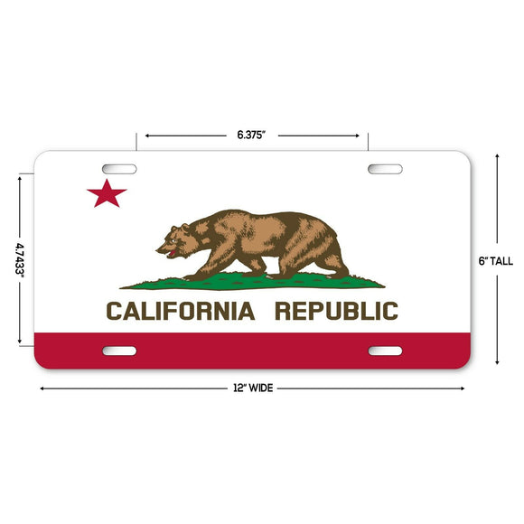LP121 - California Flag Novelty Aluminum Automotive 6