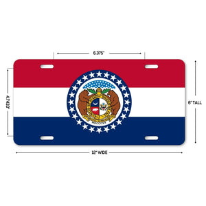 "LP141 - Missouri Flag Custom Novelty Aluminum Automotive 6"" x 12 License Plate"