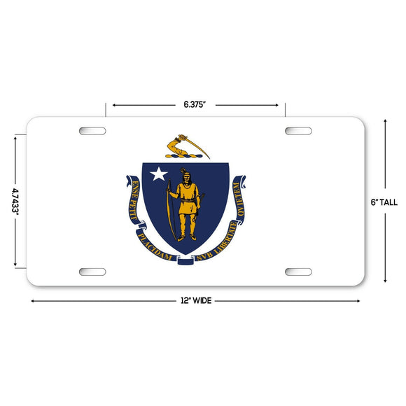 LP137 - Massachusetts Flag Novelty Aluminum Automotive 6