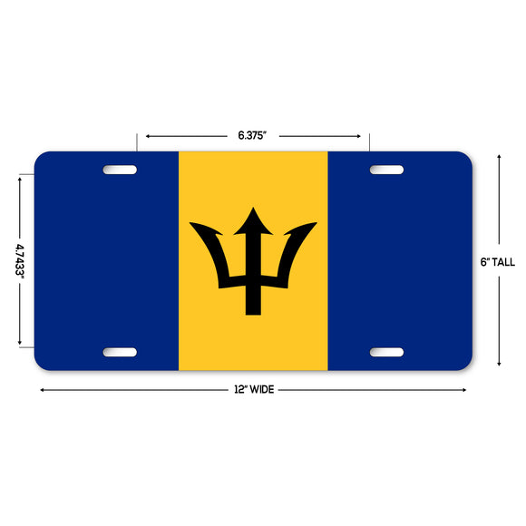 LP319 - Barbados Flag Custom Novelty Aluminum Automotive 6