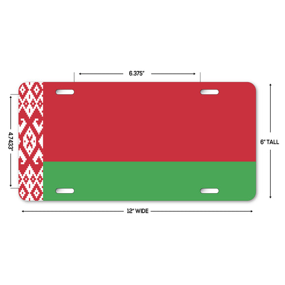 LP318 - Belarus Flag Custom Novelty Aluminum Automotive 6