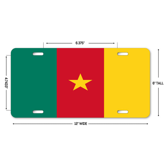 LP305 - Cameroon Flag Custom Novelty Aluminum Automotive 6