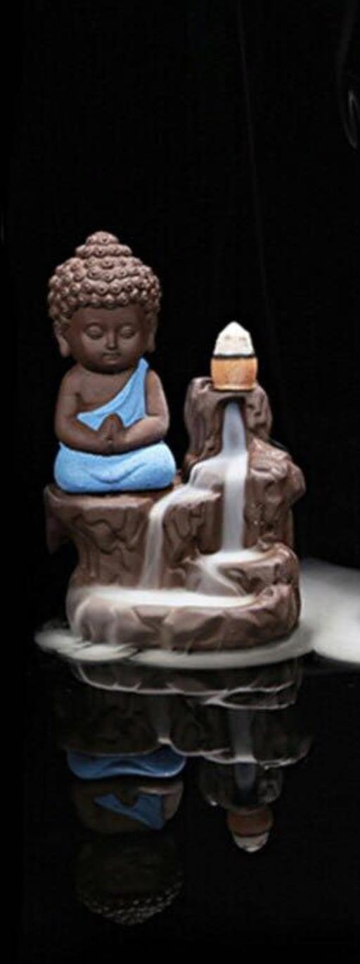 Backflow Incense Burner, Meditating Baby Buddha Assorted Colours - Altered Reality