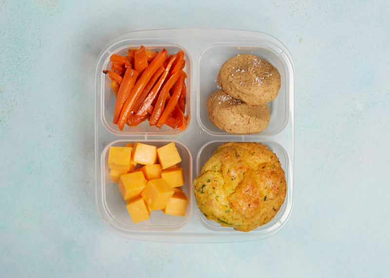 Veggie Parm Muffin + Roasted Carrots with Honey & Tamari + Cheddar Cheese + Almond Butter Cookies