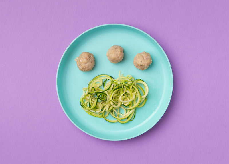 Parm Chicken Meatballs and Zoodles (Toddler Size)