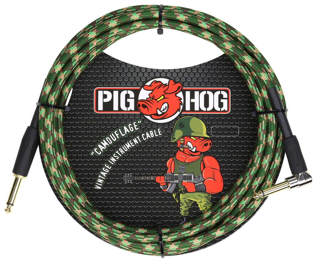 Pig Hog Camouflage Instrument Cable 10ft Right Angle