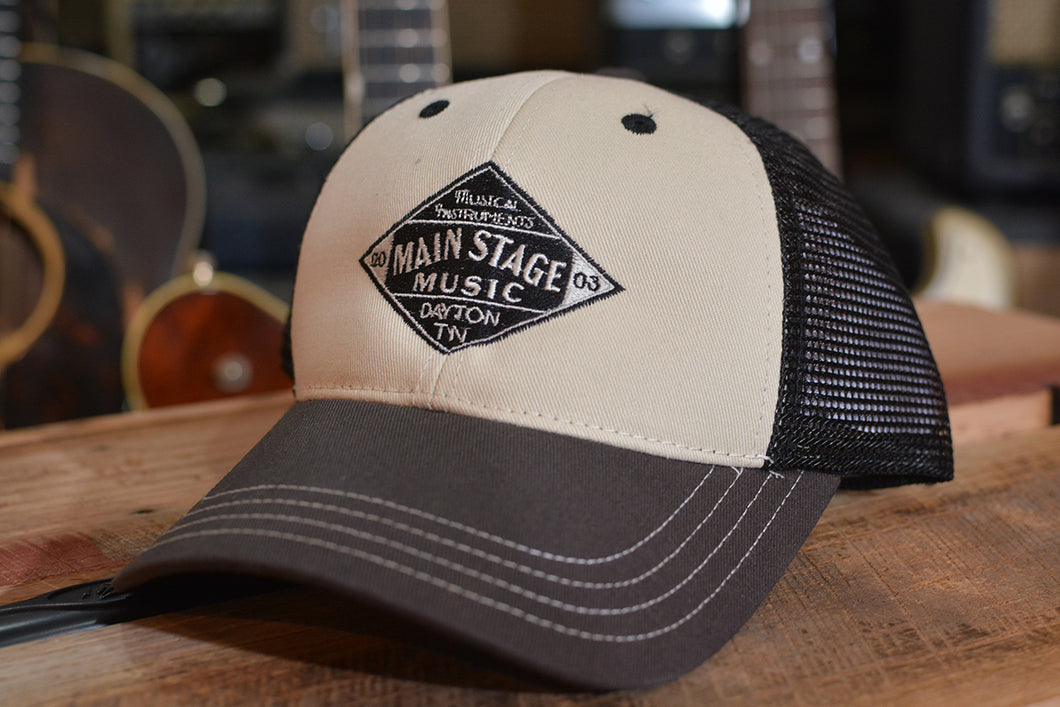 Main Stage Music Vintage Diamond Logo Mesh Snap Back Trucker Cap
