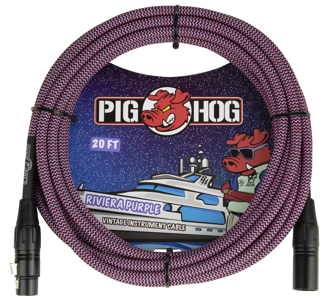 Pig Hog Riviera Purple Woven XLR Mic Cable 20ft