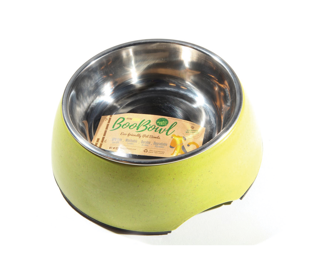 DEFINE PLANET Bamboo Bowl Round wStainless Steel - Green