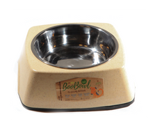 Load image into Gallery viewer, DEFINE PLANET Bamboo Bowl Square wStainless Steel - Ivory