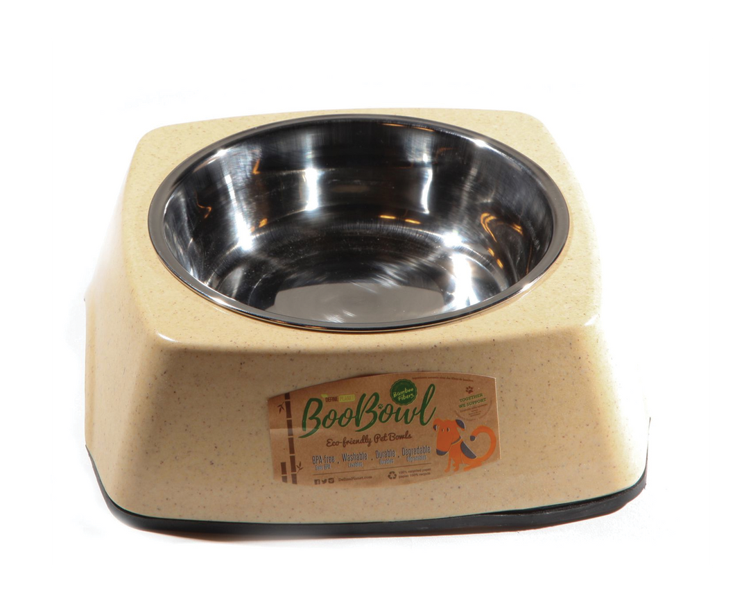 DEFINE PLANET Bamboo Bowl Square wStainless Steel - Ivory