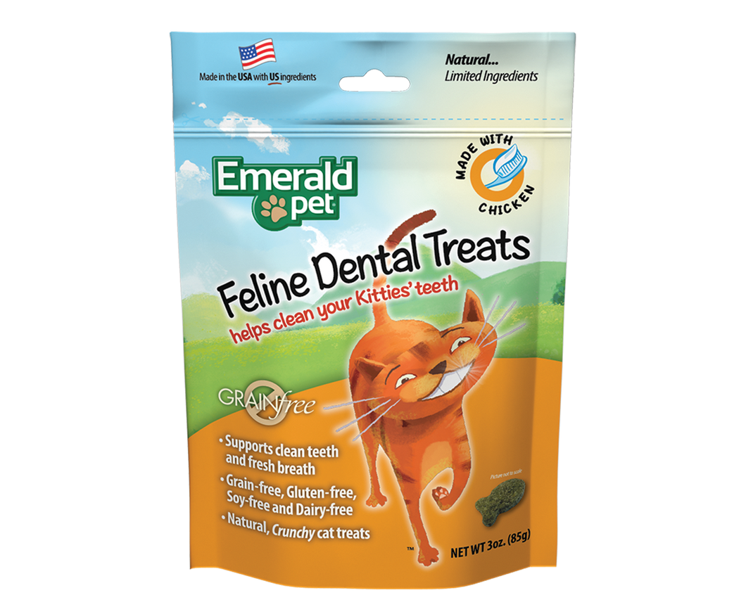 EMERALD PET Feline Dental Cat Treats - Chicken 3OZ