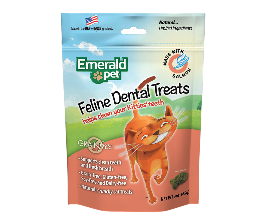 EMERALD PET Feline Dental Cat Treats - Salmon 3OZ