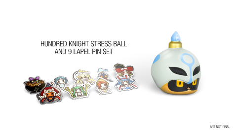 The Witch And The Hundred Knight 2 - 9 lapel pins and Hundred Knight Stress Ball