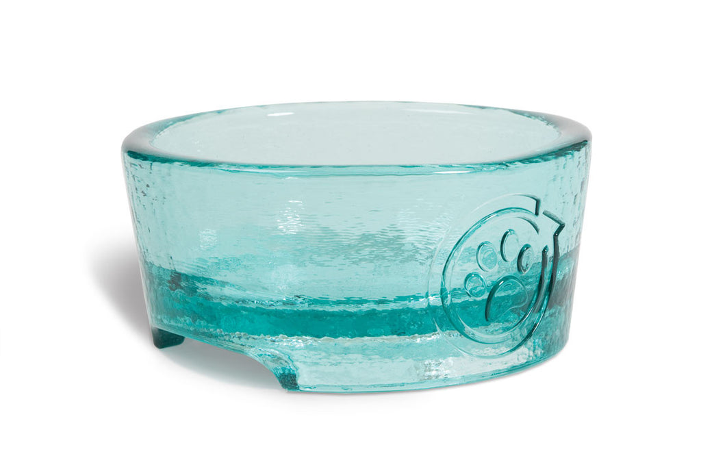 100% Recycled Glass Dog Feeding Bowl: Aqua