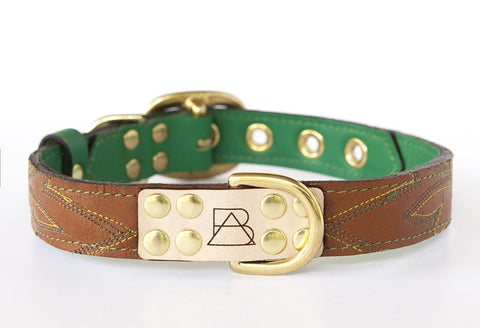 Leather & Emerald Green Dog Collar