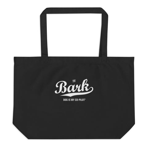 Black Bark Script Large Canvas Tote