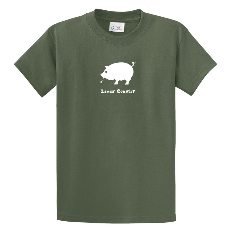 Adult Livin' Country Pig T-shirt