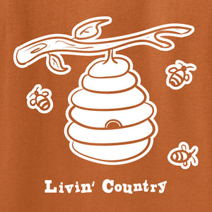 Adult Livin' Country Bee Hive T-shirt