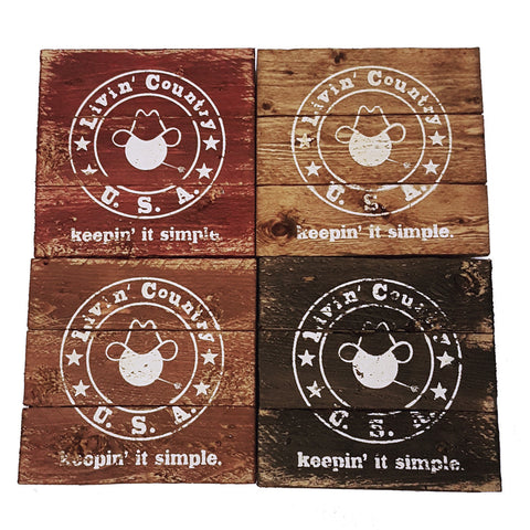 Wooden Drink Coasters - Livin' Country Apparel & Accessories  - 6