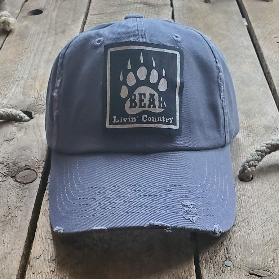 Livin' Country Bear Distressed Patch Hat