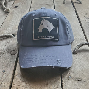 Livin' Country Horse Distressed Patch Hat