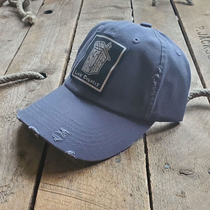 Livin' Country Outhouse Distressed Patch Hat