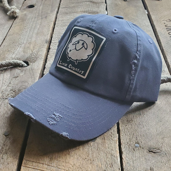 Livin' Country Sheep Distressed Patch Hat