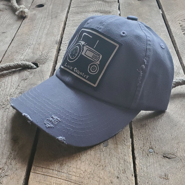 Livin' Country Tractor Distressed Patch Hat