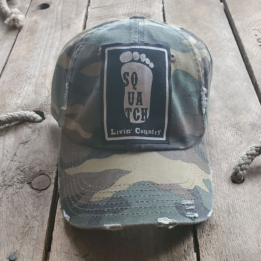 Livin' Country Squatch Green Camo Distressed Patch Hat