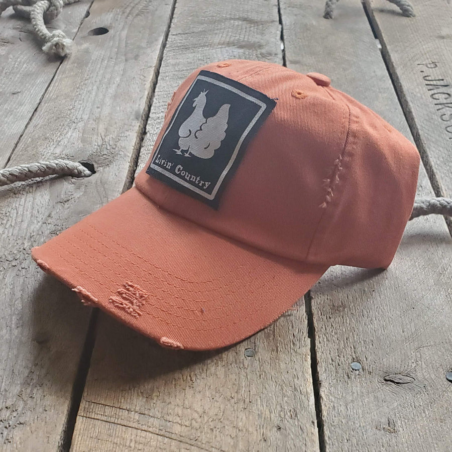Livin' Country Chicken Distressed Patch Hat