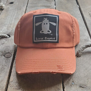 Livin' Country Cow Distressed Patch Hat