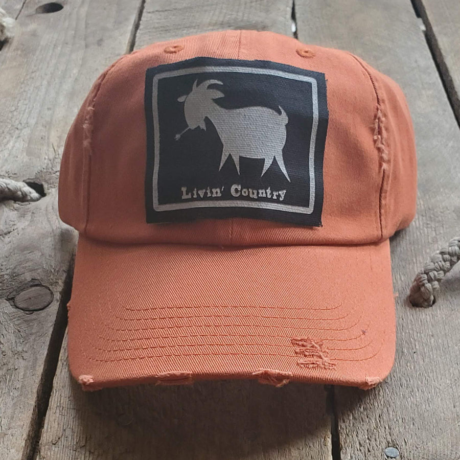 Livin' Country Goat Distressed Patch Hat