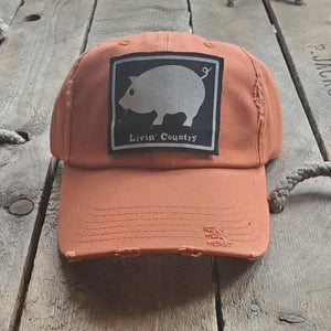 Livin' Country Pig Distressed Patch Hat