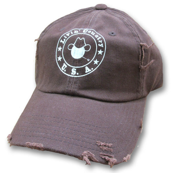 Livin' Country Logo Dark Brown Distressed Cap