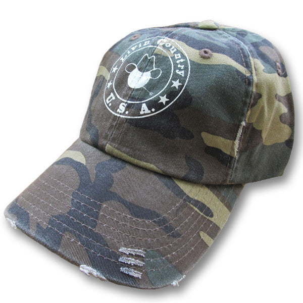 Livin' Country Logo Camo Distressed Cap