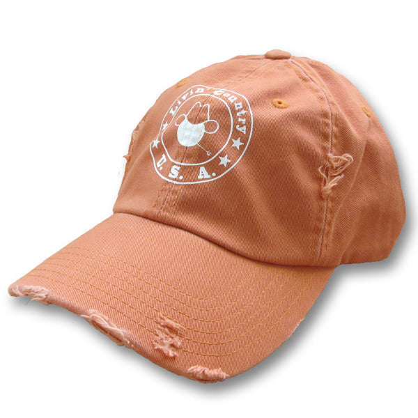 Livin' Country Logo Burnt Orange Distressed Cap