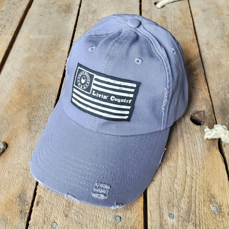 Livin' Country Flag Distressed Patch Hat