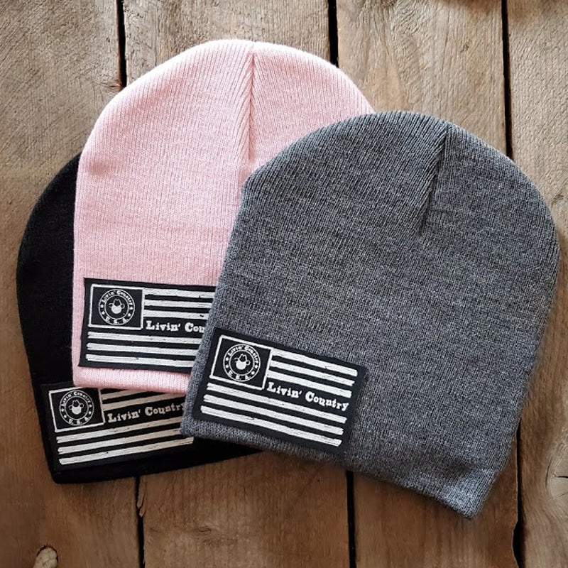 LC Patch Knit Beanie Skull Caps