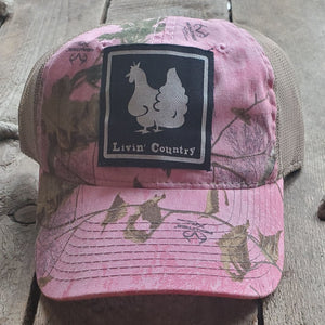 Livin' Country Chicken Realtree Pink Mesh Patch Hat