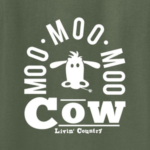 Adult Livin' Country Barnyard Cow T-shirt