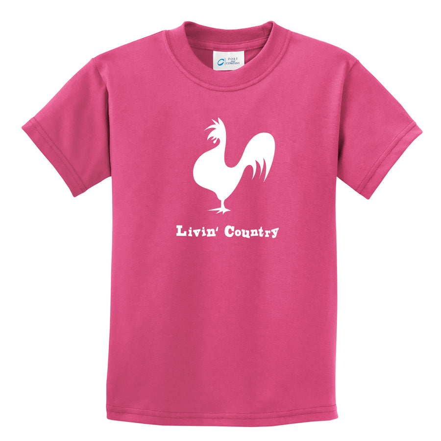 Kid's Livin' Country Rooster T-shirt